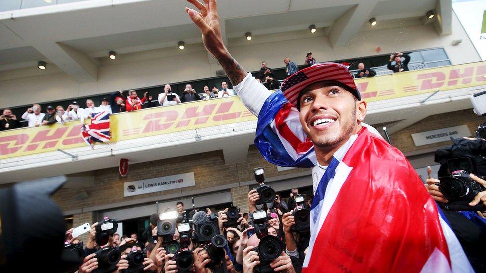 Lewis Hamilton celebrates winning the United States Grand Prix 2015 in Austin, Texas