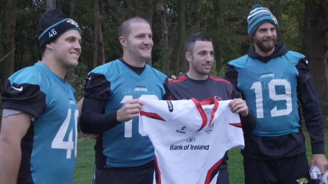Ulster Rugby's Ian Humphreys trains with the NFL's Jacksonville Jaguars in 2014
