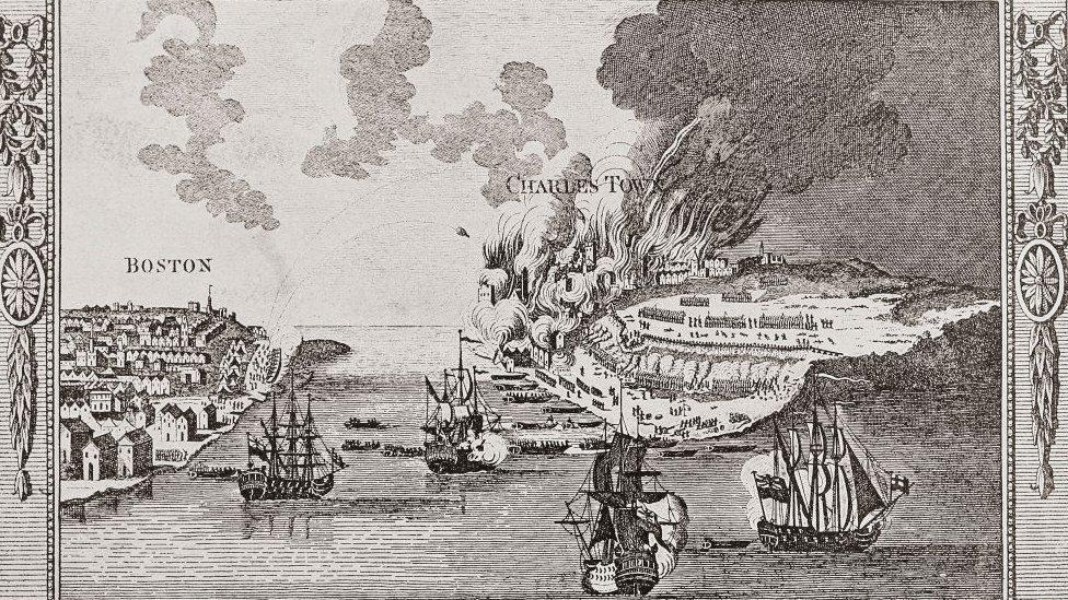 Ataque de Bunker Hill, grabado de George Henry Millar