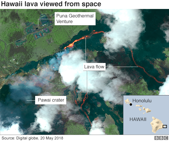 Satellite imagery of the Hawaii lava viewed from space