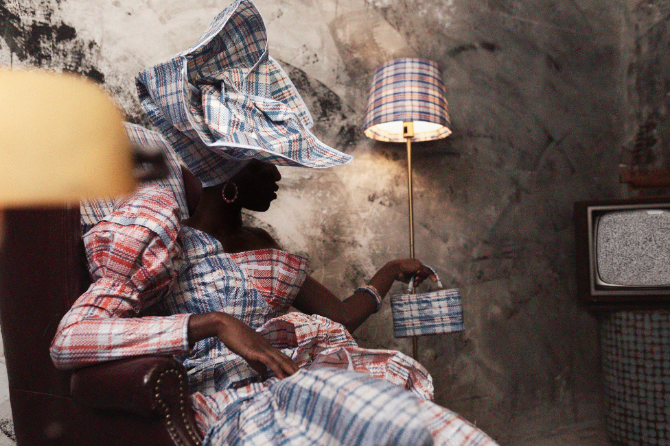 Model in Ghana Must Go fabrics