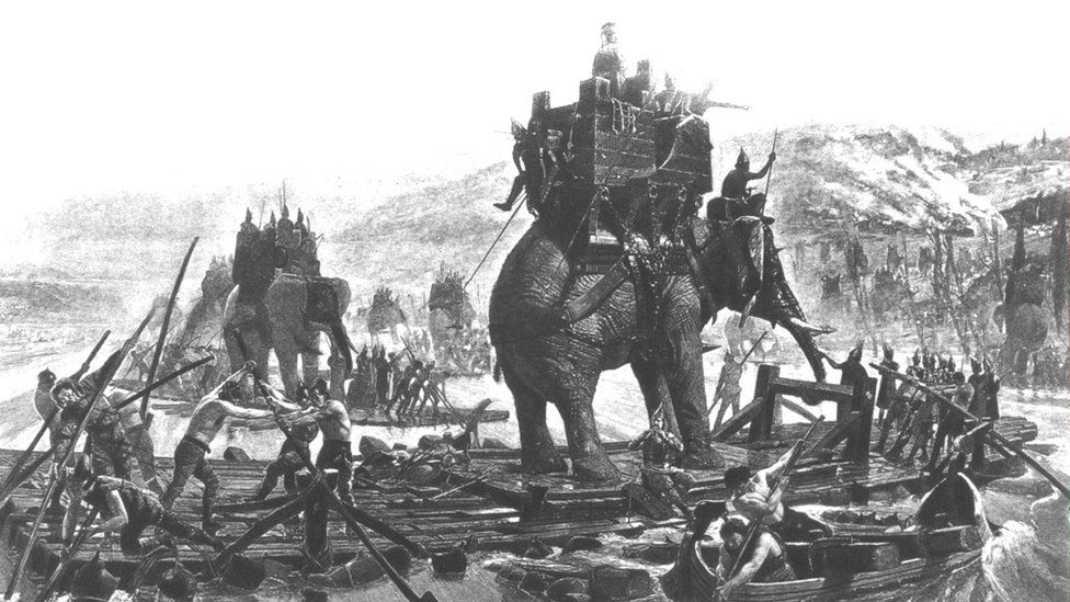 Depiction of Carthagenian Gen Hannibal crossing the Rhone with his elephants on rafts during the Punic Wars with the Roman Empire which began in 218 BC