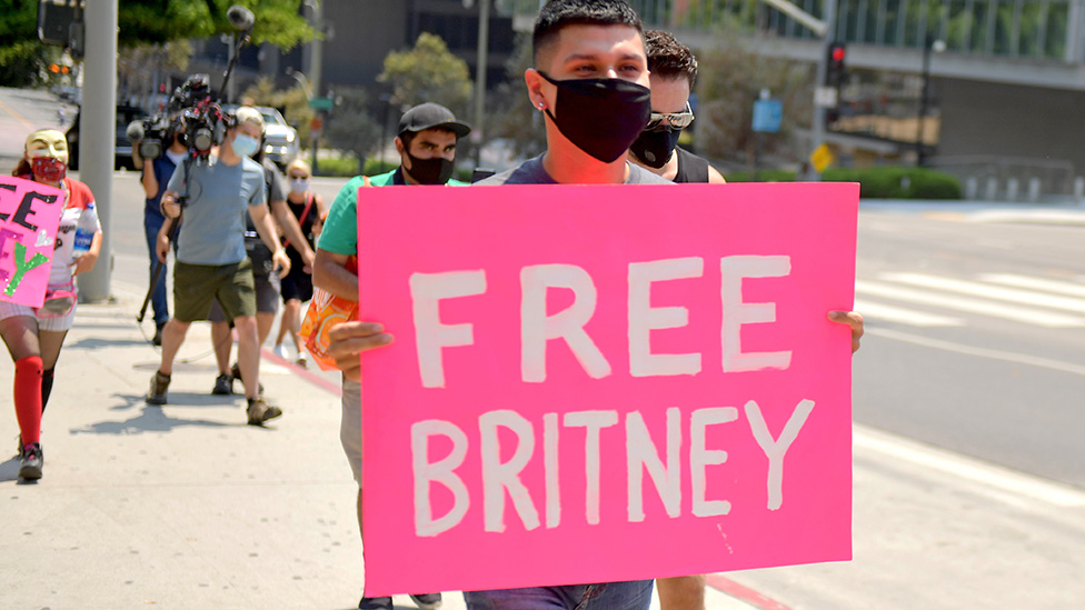 Supporters of Britney Spears outside the courthouse in Los Angeles