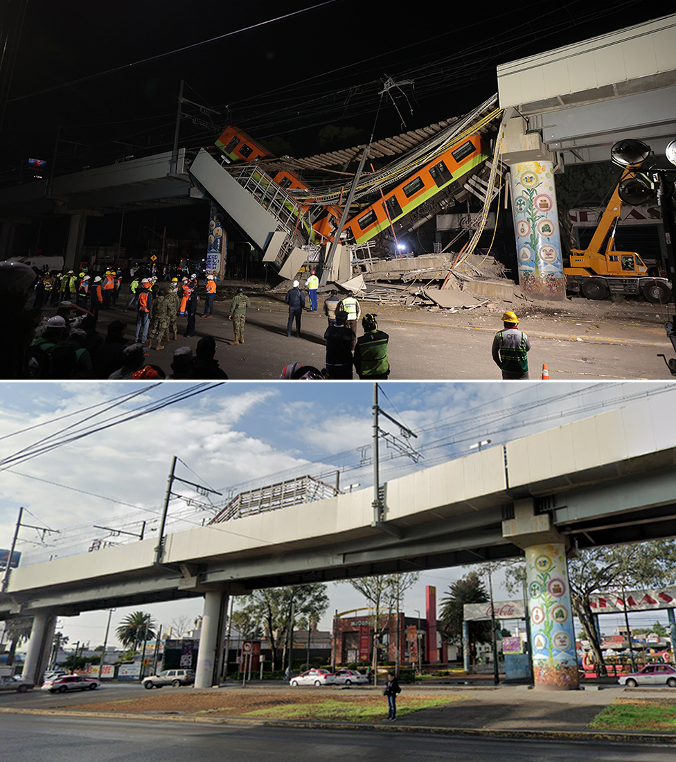 Composición de imágenes del antes y después del lugar del accidente del metro