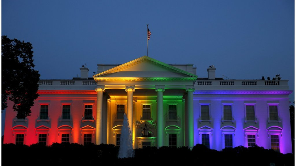 The White House was lit up in rainbow colours after the Supreme Court ruled gay marriage constitutional in June, 2015