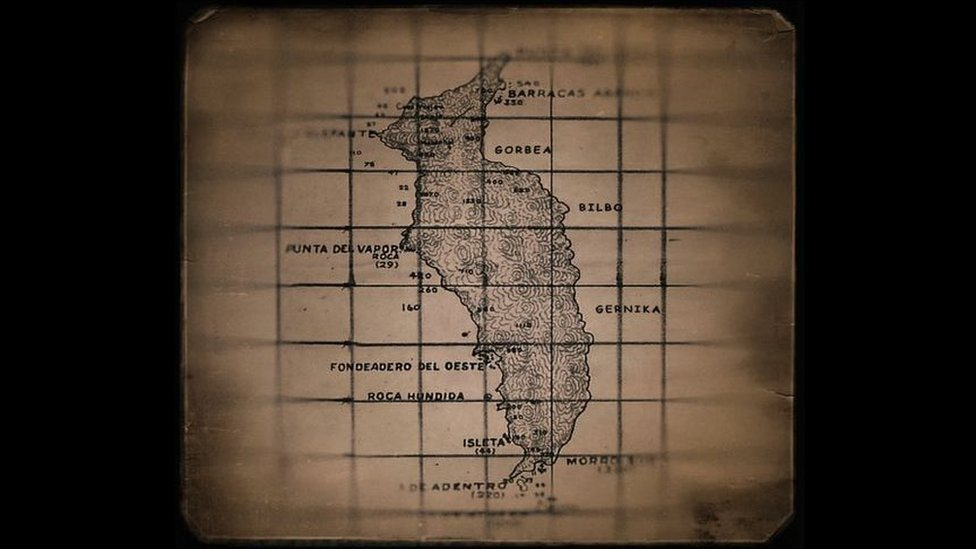 Mapa de Euskadi en isla Guadalupe