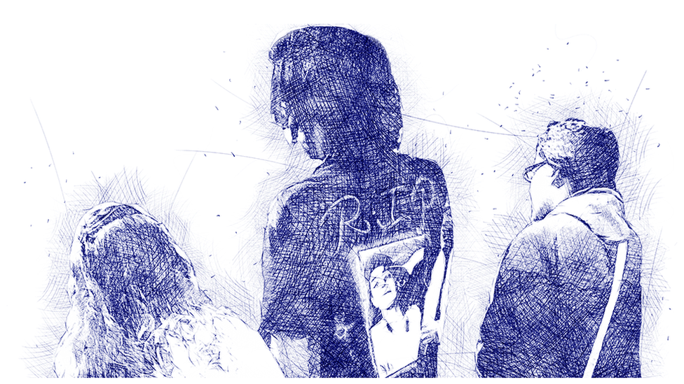 Illustration of young people at the funeral wearing hoodies with Jose's photograph.
