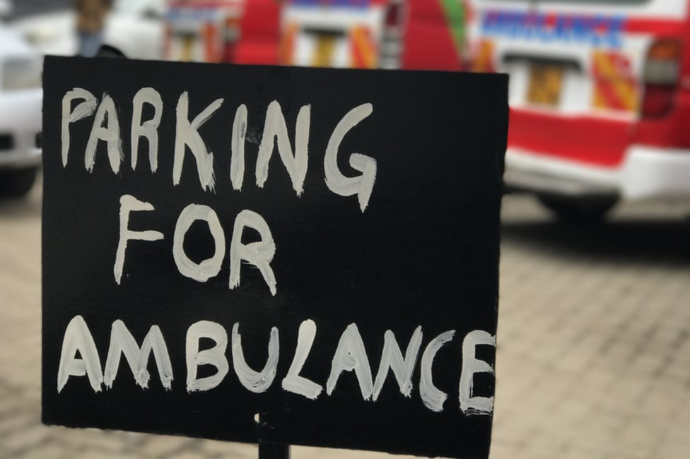 Ambulance car parking sign