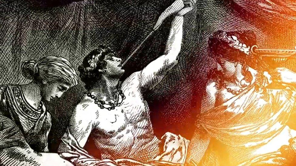 Grabado de un romano bebiendo