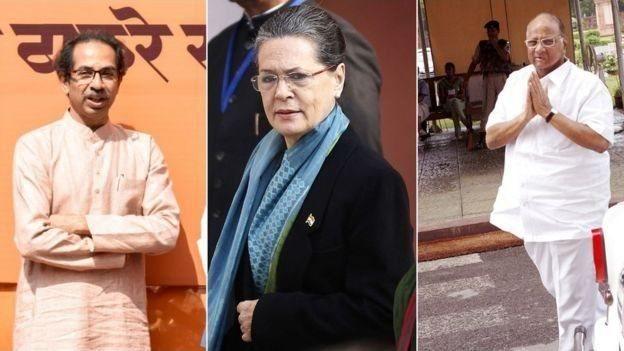 उद्धव ठाकरे, सोनिया गांधी, शरद पवार