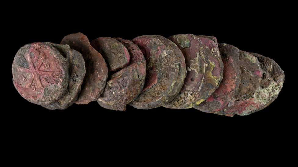 Roman coins fused together
