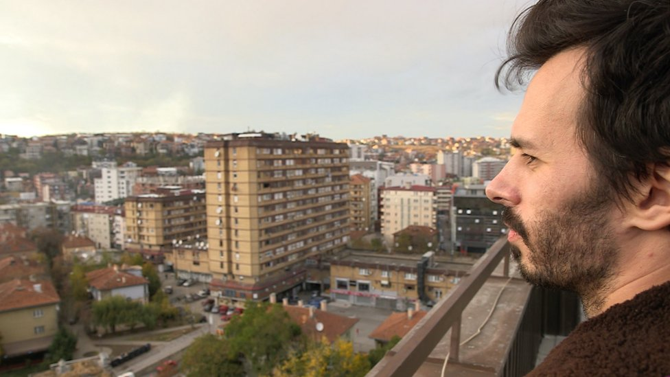 Carl Miller looks over the city of Pristina
