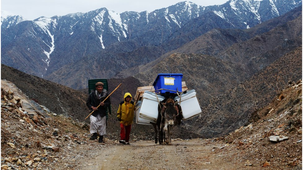 Afghan villagers use donkeys to transport election materials in high mountains of Northern Afghanistan ahead of the 2014 presidential elections