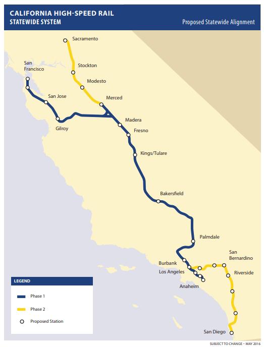 Mapa del recorrido del tren bala que construye California. Tiene estipulado viajar desde Los Ángeles a San Francisco.