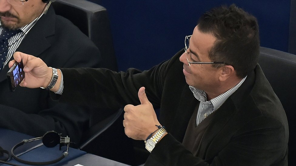 Italian right wing Northern League party MP Gianluca Buonanno takes a selfie picture during a voting session at the European Parliament in Strasbourg