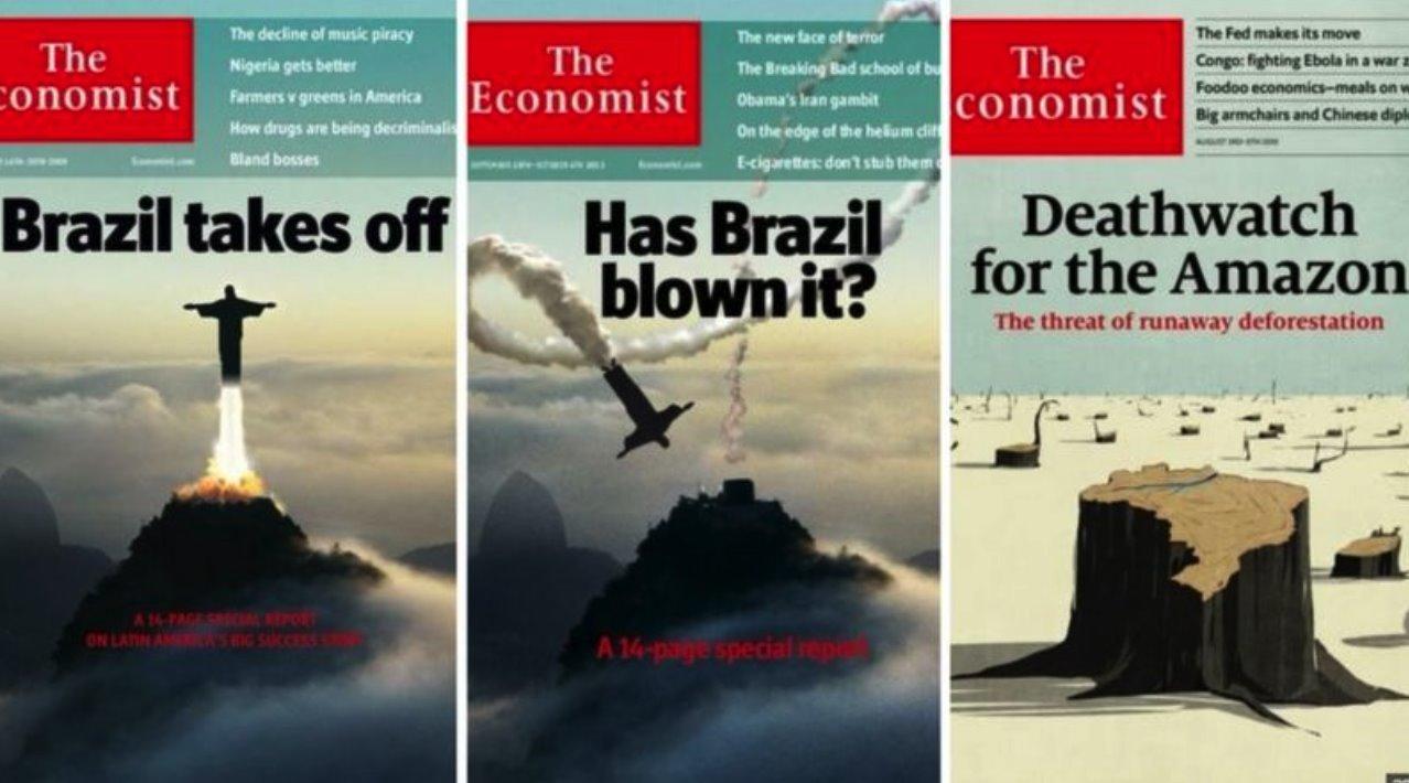 Cristo Redentor foi usado pelo 'Economist' para ilustrar a opinião da revista sobre o Brasil em 2009 e 2013; em 2019, uma capa falava sobre o desmatamento na Amazônia
