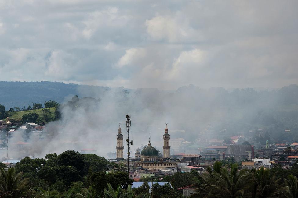 تعرض الجامع الكبير في ماراوي للقصف في يونيو/حزيران 2017