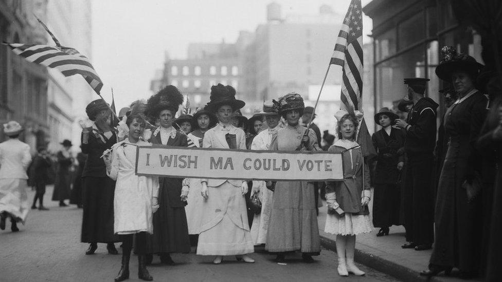 Protestas de sufragistas para votar en Estados Unidos.