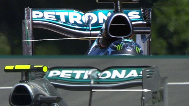 A comparison of two Mercedes rear wings