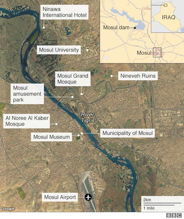 Satellite image of Mosul showing notable landmarks