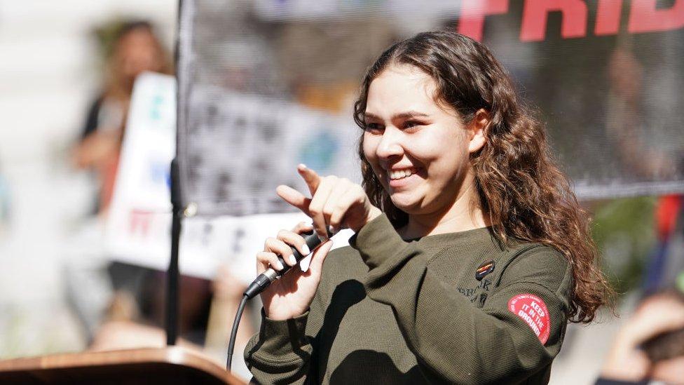 Nalleli Cobo durante una protesta en enero de 2020.
