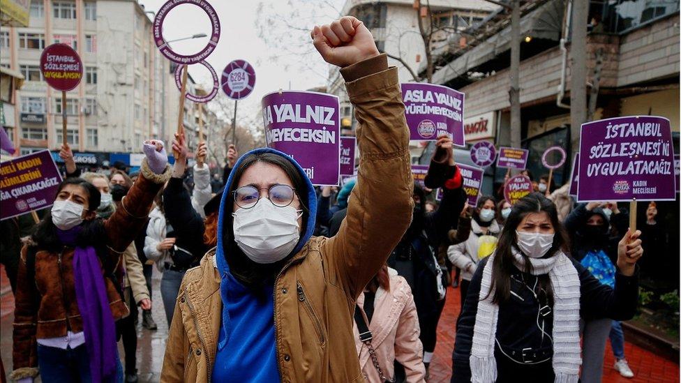 متظاهرات في أنقرة 20 مارس 2021