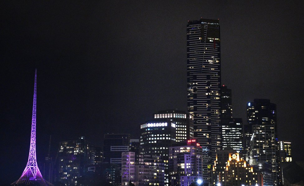 The Melbourne Arts Centre spire is lit in purple to honour Prince, 22 April