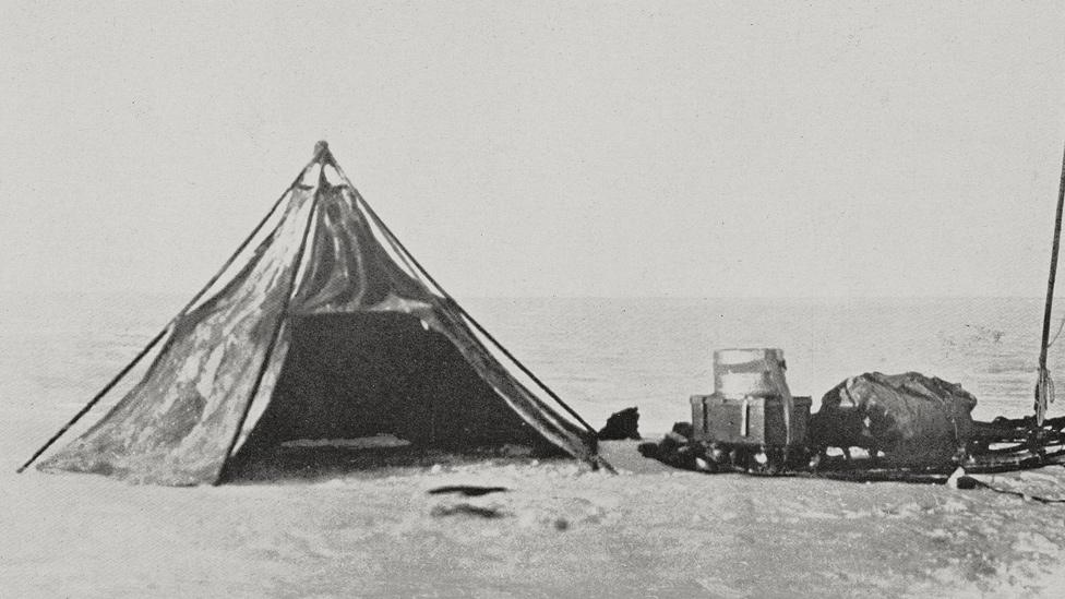 Carpa de la expedición Terra Nova, liderada por Robert Falcon Scott