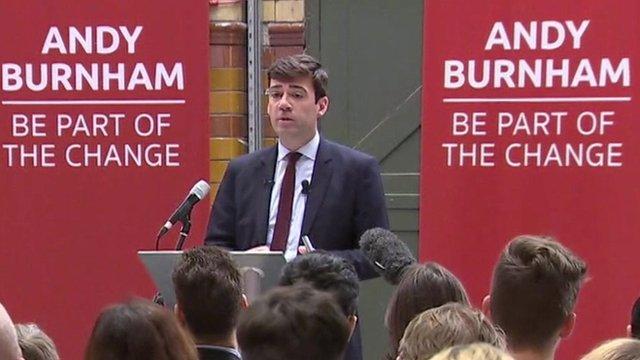 Andy Burnham at podium