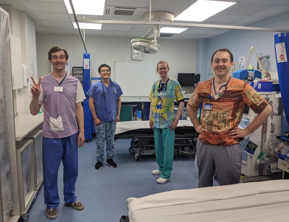 NHS Shetland staff in scrubs made by volunteers