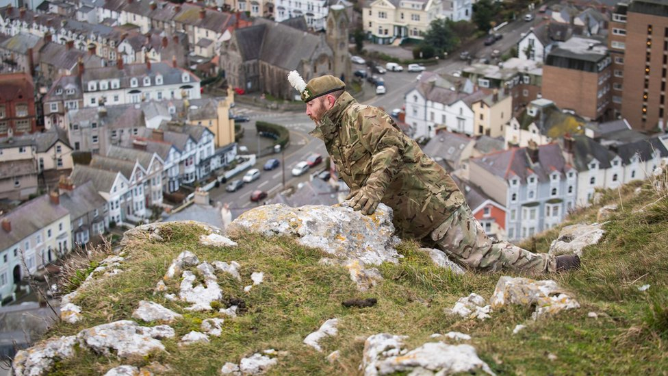 A soldier on the Great Orme searching for Shenkin