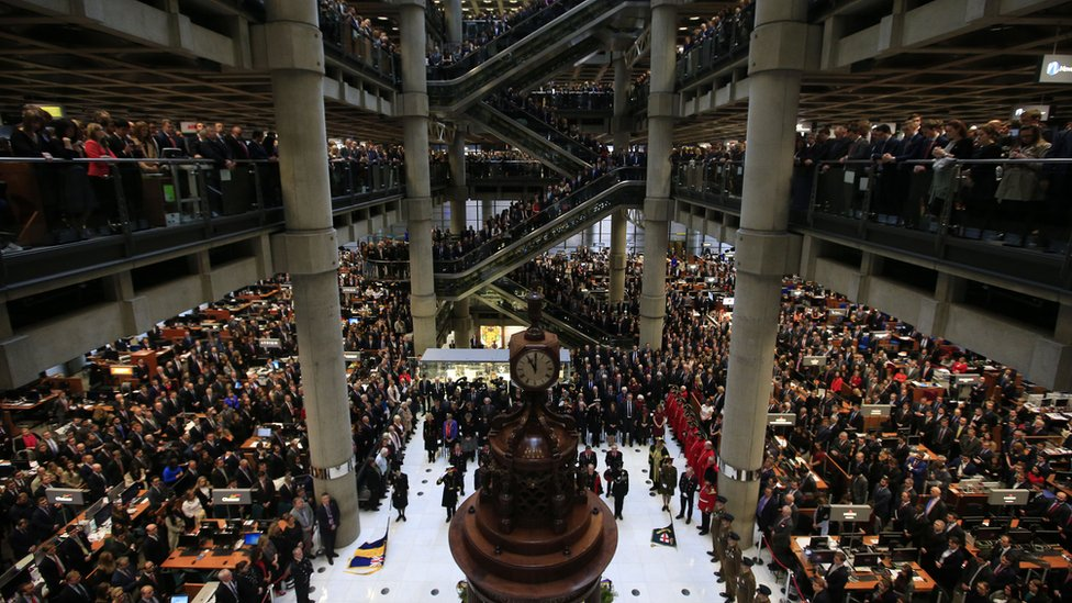 Lloyd's of London staff observe the silence on 11 November 2015