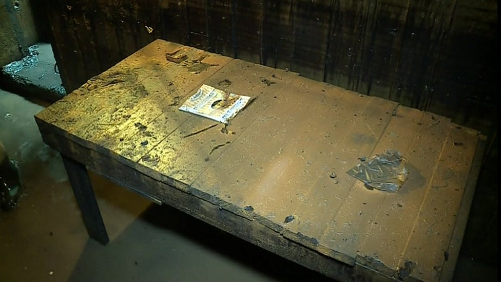 Wooden table found in bunker