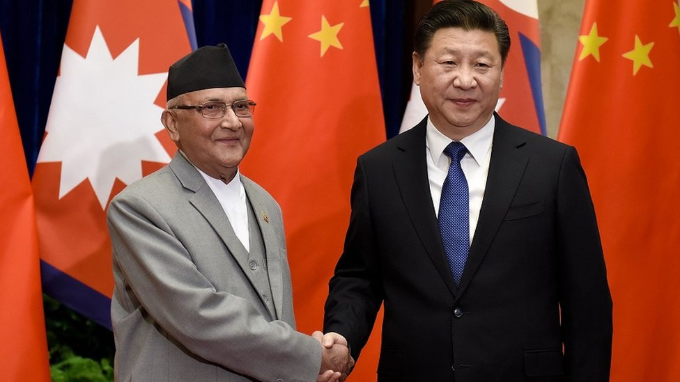 中國國家主席習近平和尼泊爾總理夏爾馬·奧利