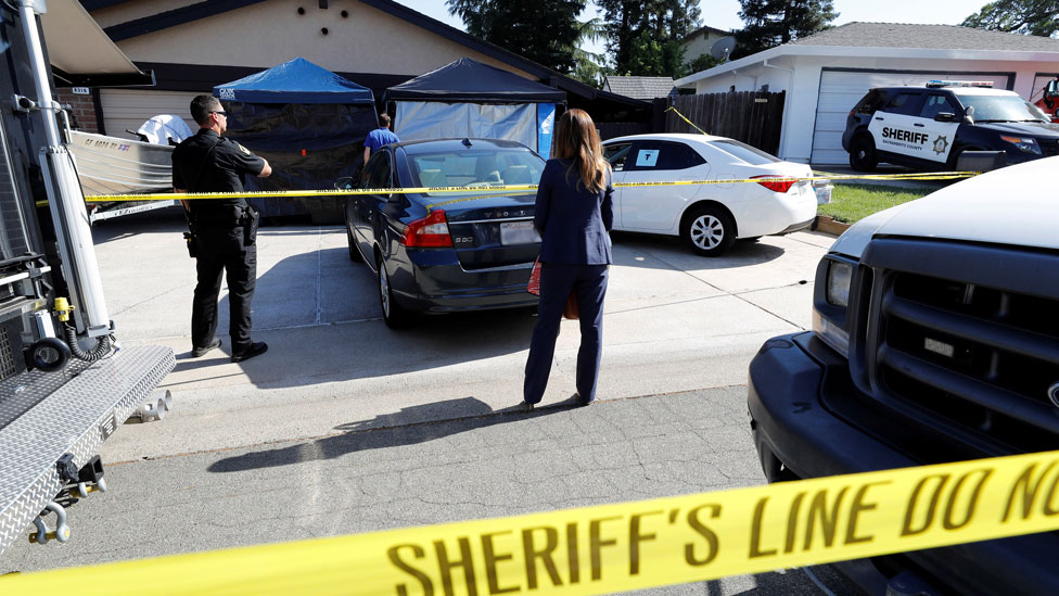 "Sheriff""s crime scene tape surrounds the house belonging to Joseph James Deangelo, who was arrested for the East Area Rapist/Original Night Stalker/Golden State Killer case in Citrus Heights, California, U.S., April 25, 2018. REUTERS/Fred Greaves"