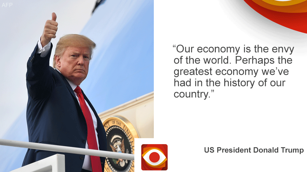 "Card with President Trump on the left and the quote ""Our economy is the envy of the world. Perhaps the greatest economy in the history of our country."""
