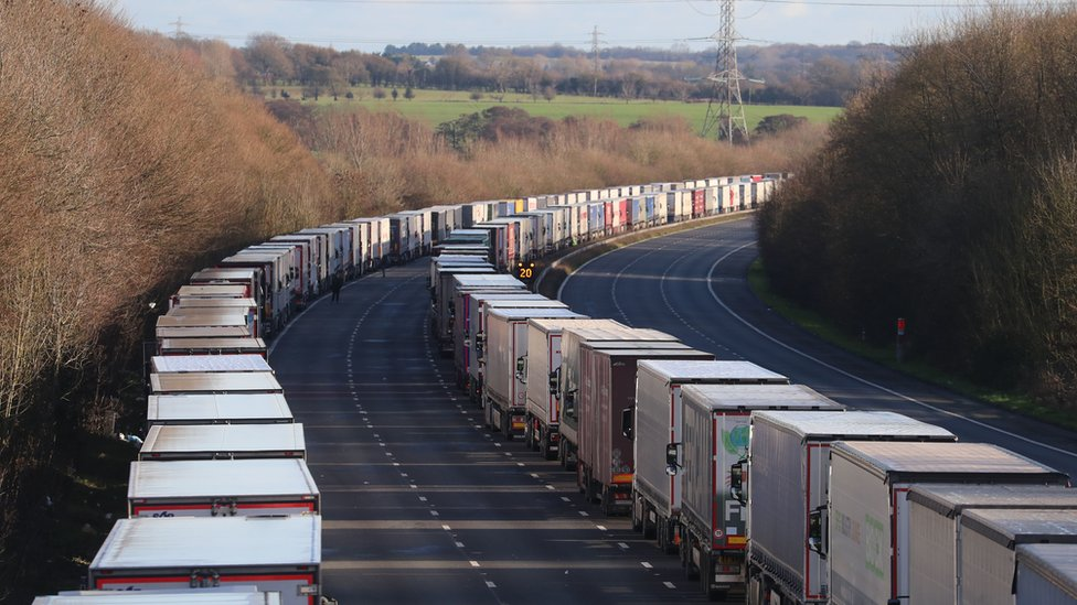lorries lined up on the M20 near Ashford, Kent.