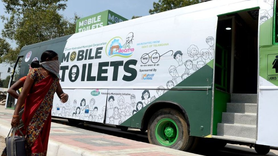 Mobile toilet in the Indian city of Hyderabad