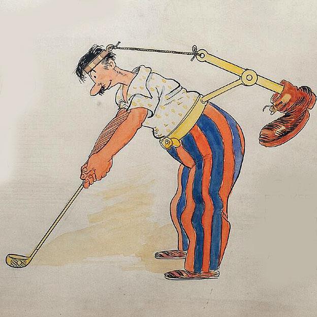 Bota amarrada a la cabeza de un golfista. © Rube Goldberg Inc. Todos los derechos reservados. RUBE GOLDBERG® es una marca registrada de Rube Goldberg Inc. Todos los materiales se usan con permiso. rubegoldberg.com.