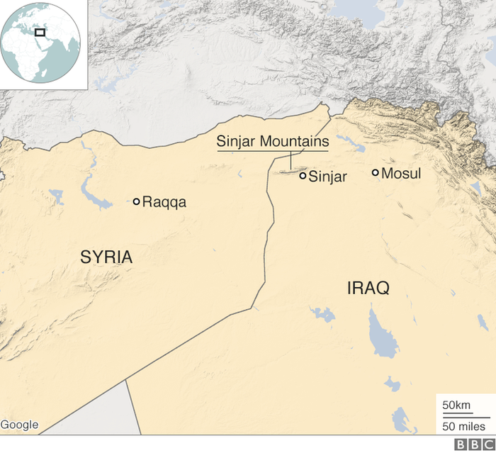 Map showing Raqqa, Mosul and Sinjar