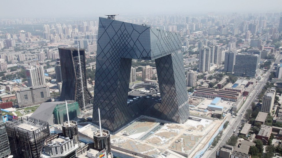 The CCTV Tower is seen from the World Trade Center Tower III on August 16, 2010