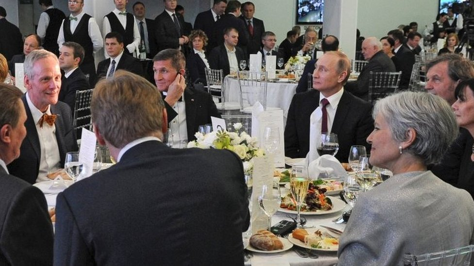 Michael Flynn (centre-left) sits next Russian President Vladimir Putin (centre-right) at a banquet in Moscow. Photo: 10 December 2015