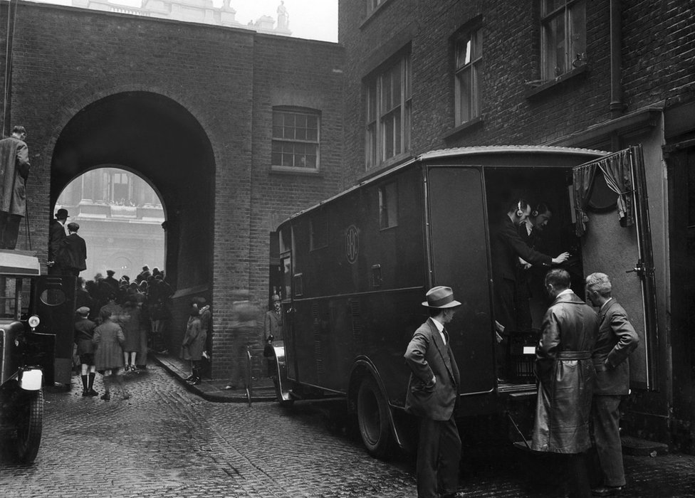 Picture shows a BBC outside broadcast van with engineers and equipment at the Cenotaph in 1928.