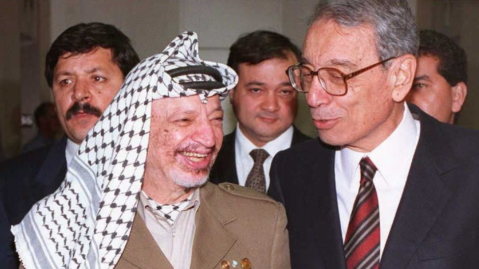 This file photo taken on May 1, 1996 shows former PLO Chairman Yasser Arafat (L) as he talks with United Nations Secretary General Boutrous Boutrous-Ghali upon his arrival at the United Nations.