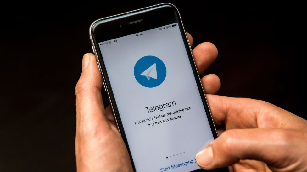 Telegram messaging app on smartphone