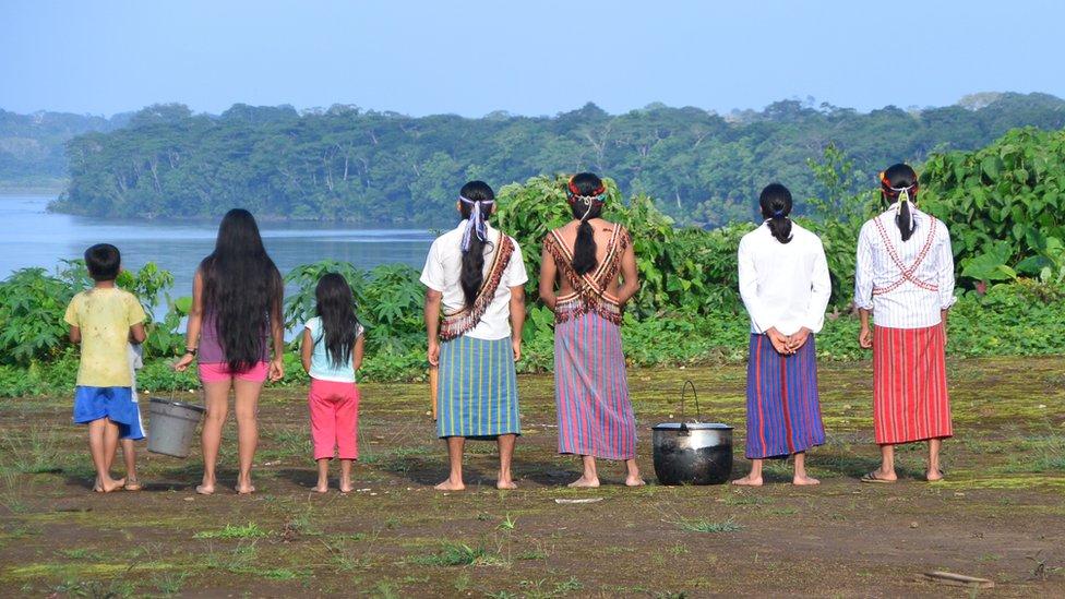 Members of the Achuar in Sharamentsa village
