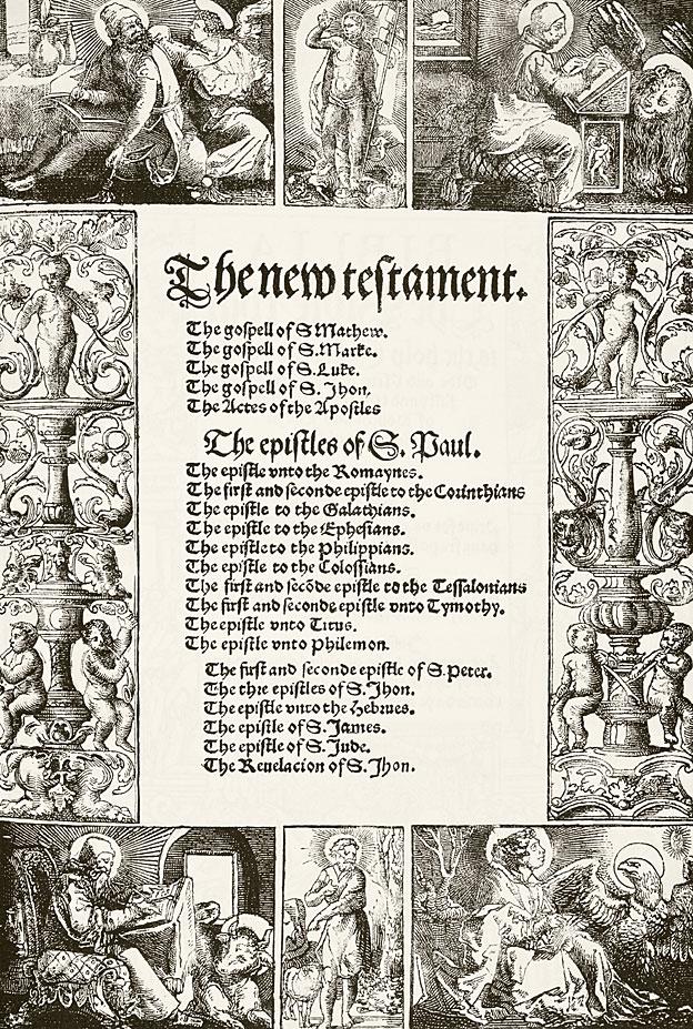 Página de la Biblia traducida al inglés de Tyndale