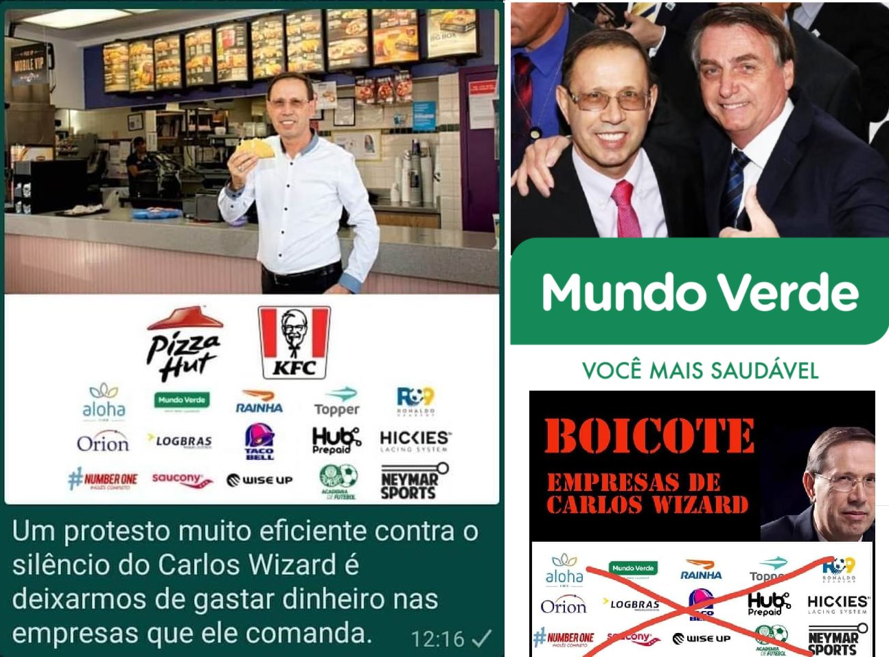 Posts de redes sociais pedindo boicote às empresas de Carlos Wizard