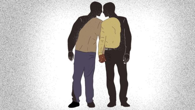 Graphic of men holding hands