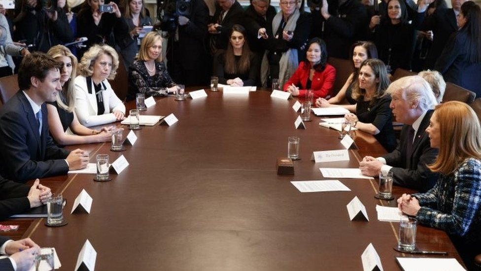 Canadian Prime Minister Justin Trudeau (L) meets US President Donald Trump and Canadian and US female executives.